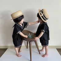 BABY: sailor shirt BLACK - linen&cotton