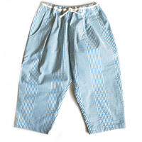 cropped pants - retro blue stripes