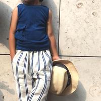 cropped pants  - linen& cotton stripes