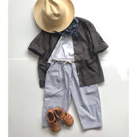 Plastron shirt: light french cotton brown