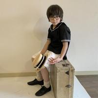 KIDS : sailor shirt BLACK - linen&cotton