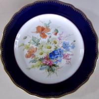 マイセンアンティーク 自然主義フラワーブーケ瑠璃金彩皿25㎝