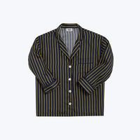 SLEEPY JONES // Silk Marina Pajama Shirt Tie Stripe Navy&Gold