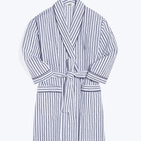 SLEEPY JONES / Isa Short Robe White&Blue Scribble Stripe
