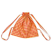COMING OF AGE / GINGHAM RED YELLOW XL DRAWSTRING BACKPACK