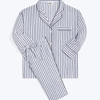 SLEEPY JONES / MARINA PAJAMA SET White & Blue Scribble Stripe