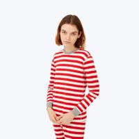 SLEEPY JONES // Helen Long Sleeve Shirt Red Slub Stripe