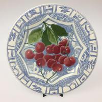 【ジアン】オワゾブルーフルーツ 22cmデザートプレート  チェリー