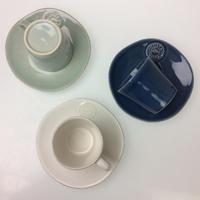 【コスタノバ】ノバ ティーカップ&ソーサー ホワイト/ターコイズ/デニム