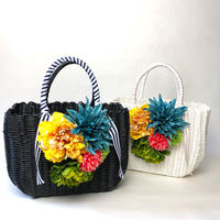 Flower Bag Black /White  L     【tropical】