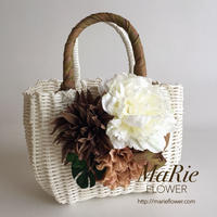 Flower Bag White M     【Monstera×Natural】