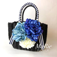 Flower Bag Black M      ~marine blue〜