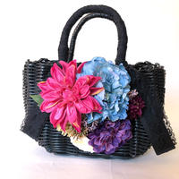 Flower Bag Black M     【 Pink Dahlia ×Blue Peony】