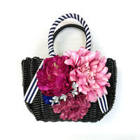 Flower Bag Black M    【マリンピンク】