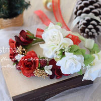 ホワイト・レッドクリスマス花かんむり・ワンちゃん用