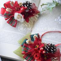 【ご予約】クリスマスチェックリボン・ポインセチア