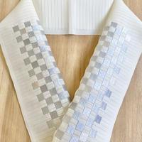 【夏用 絽】市松シルバー ポリエステル刺繍衿