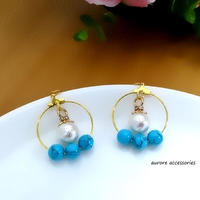 cottonpearl & hoop pierced earrings コットンパールとフープのピアス ターコイズカラー