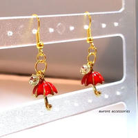 umbrella pierced earrings 傘のピアス レッド