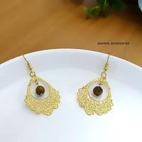 brown & gold pierced earrings 透かしゴールド&ブラウンのピアス