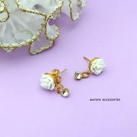 rose pierced earrings バラのピアス ホワイトローズ 小ぶり