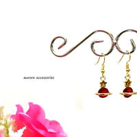 Saturn pierced earrings 土星と星のピアス レッド