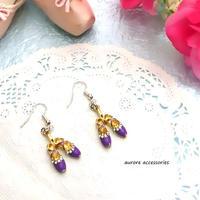 ballet shoes pierced earrings バレエシューズのピアス  パープル