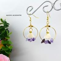 purple pierced earrings フープ&タッセルピアス パープル