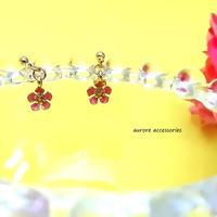 flower pierced earrings フラワーピアス 小ぶり ピンク
