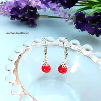 red pierced earrings クラックビーズのピアス レッド 赤