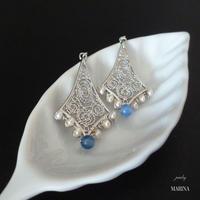 フィグリー細工のピアス - blue silver