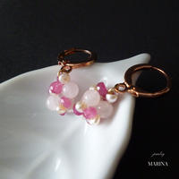 Berryピアス - Pink Sapphire 14kgf