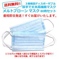 ウィルス99%カット!高機能 不織布(メルトブローン)3層マスク 20,枚入り!徳用