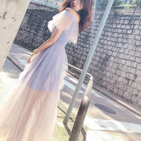 ワンピース❤韓国ドレス 幻想的なフリルシースルーのドレスワンピ hdfks962363