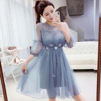 ワンピース❤韓国ドレス 妖精のように花が可愛いシフォンのミニワンピ hdfks962047