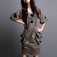 ワンピース❤個性的デザインのボタンとポケットが可愛い韓国ワンピ hdfks961715