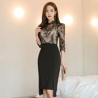 ワンピース❤韓国ドレス レースデザインと前後のギャップスカートのタイトパーティードレス hdfks962117