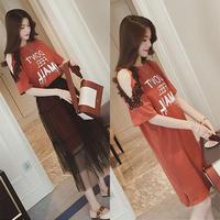 ワンピース❤肩チラ見せのロングTシャツワンピにシースルーなチュールスカートが付いた個性的な可愛いセットワンピ! hdfks961414
