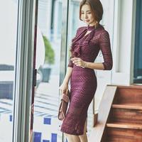ワンピース❤韓国パーティードレス 大人エレガントにリボンが可愛いタイトドレス hdfks962433