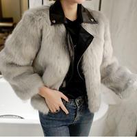 アウター❤ファーコート 韓国ファッション!ファーにレザー混じった大人きれいめファッション hdfks962003