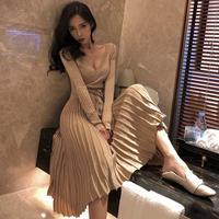 ワンピース❤韓国ドレス キラキラっとラメがきれいな大人カシュクールニットワンピ hdfks961897