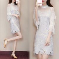 ワンピース❤韓国ドレス 清楚綺麗な袖コンシャス上品ミニワンピ hdfks962106