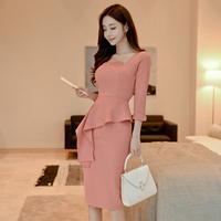 ワンピース❤韓国ドレス アシンメトリーなフリルが可愛い清楚上品タイトワンピ hdfks961814