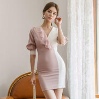 ワンピース❤韓国ドレス バイカラーフリルタイトセクシーワンピ hdfks962239