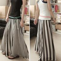 スカート❤ マキシ丈 モノトーンで使いやすいゆったりストライプスカート♪ hdfks960040