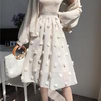 スカート❤花のボンボンが可愛い韓国ファッションのフレアスカート! hdfks961201
