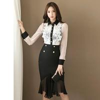 ワンピース❤セットアップドレス 大人フェミニンガーリーなレースシースルーの韓国ドレス hdfks961732