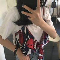 Tシャツ❤ビスチェ 花柄のビスチェが可愛らしいTシャツとのセット hdfks961092