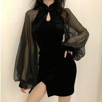 ワンピース❤韓国パーティードレス バルーンスリーブとっても可愛いセクシータイトミニワンピ hdfks962418