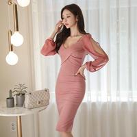 ワンピース❤韓国ドレス 袖コンシャスと胸クロスの大人可愛いタイトドレス hdfks962027